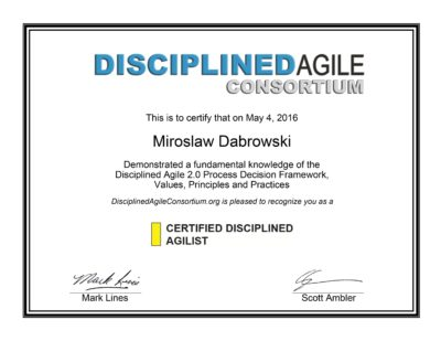 CDA - Certified Disciplined Agilist - Miroslaw Dabrowski