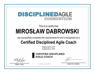 CDAC - Certified Disciplined Agile Coach - Miroslaw Dabrowski