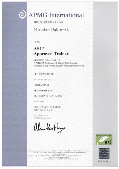 ASL2 Approved Trainer