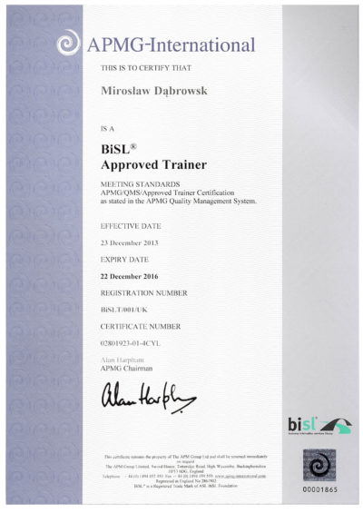 BiSL Approved Trainer