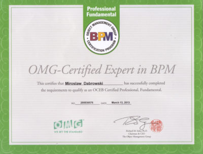 OCEBF - OMG Certified Expert in BPM - Fundamental