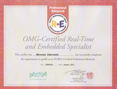 OCRESA - OMG Certified Real Time and Embedded Specialist - Advanced