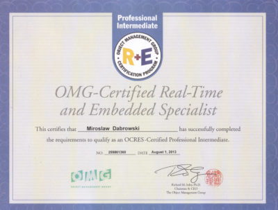 OCRESI - OMG Certified Real Time and Embedded Specialist - Intermediate