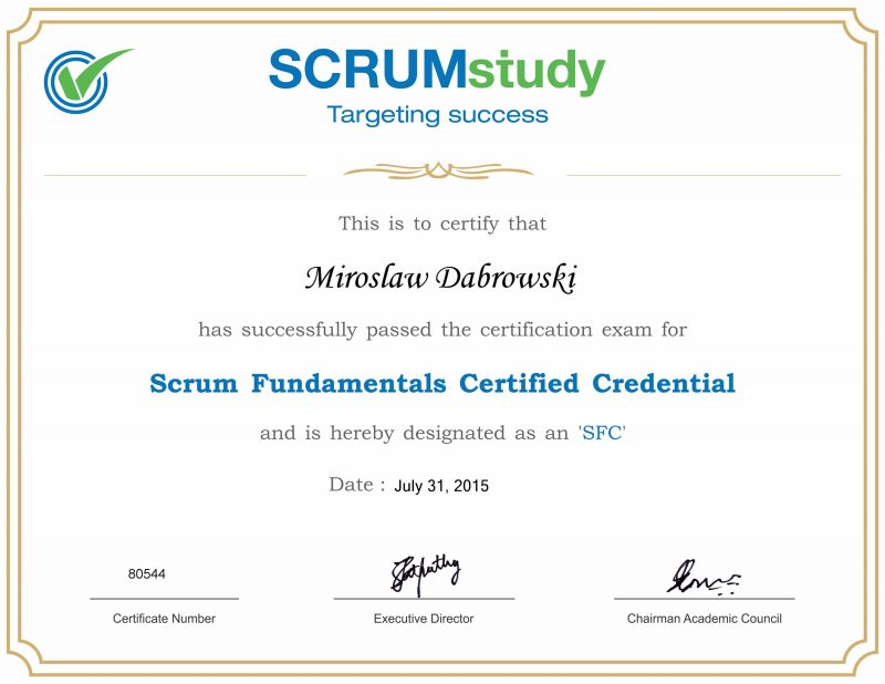 SFC - Scrum Fundamentals Certified