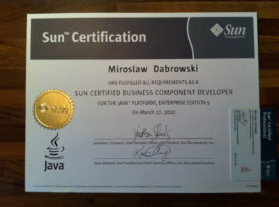 Sun Certified Business Component Developer (SCBCD)