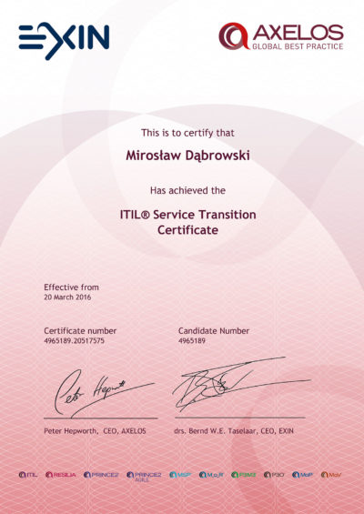 ITIL Intermediate - Service Transition