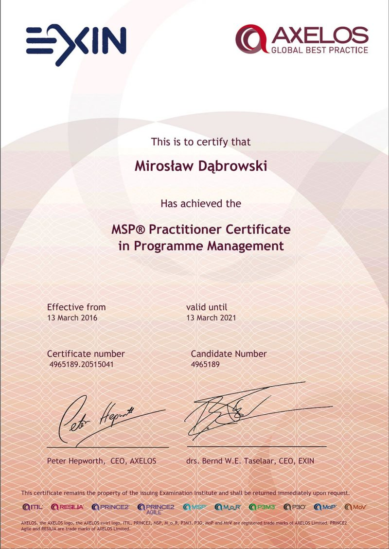 Managing Successful Programmes (MSP) Practitioner