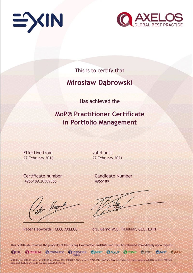 Management of Portfolios (MoP) Practitioner