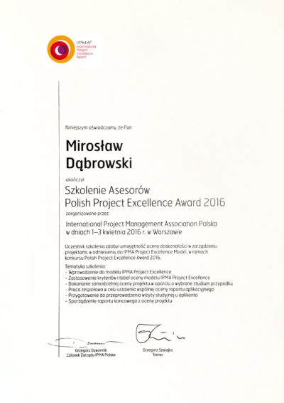 Polish Project Excellence Award Assessor 2016