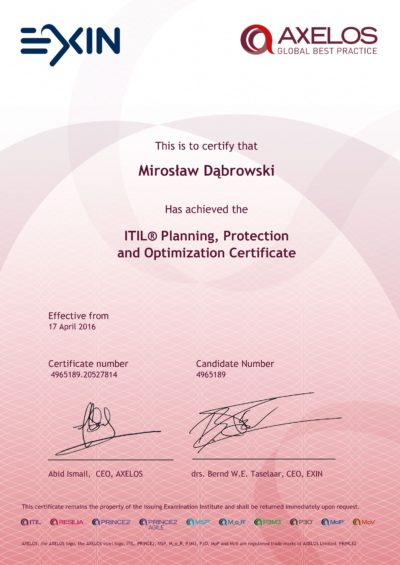 ITIL Intermediate - Planning Protection and Optimization (PPO)