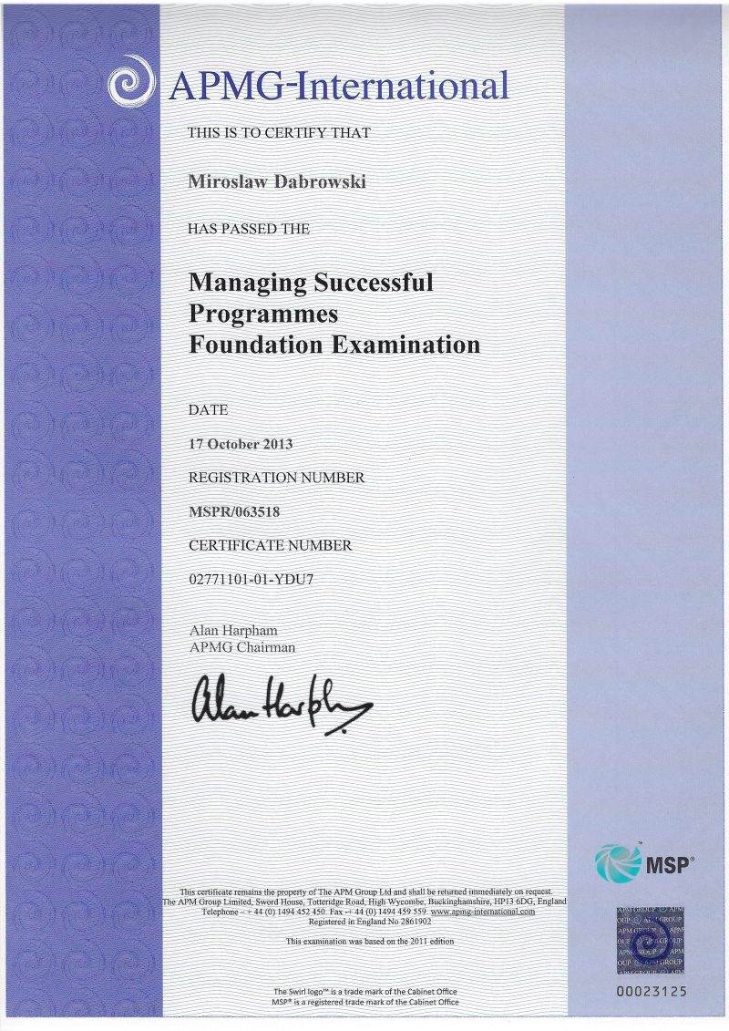 Managing Successful Programmes (MSP) Foundation
