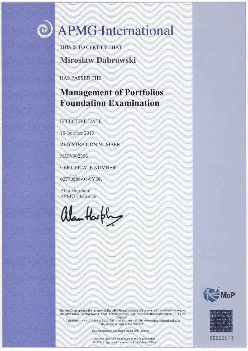Management of Portfolios (MoP) Foundation