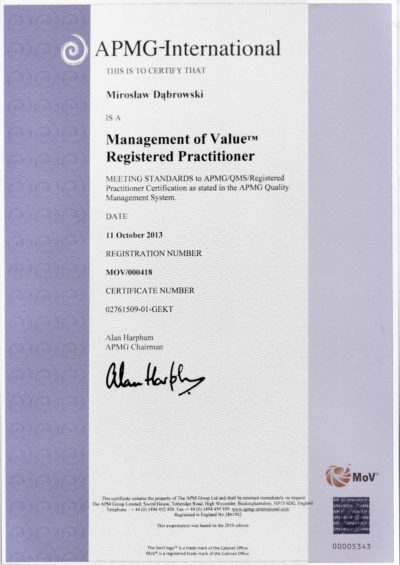 Management of Value (MoV) Practitioner