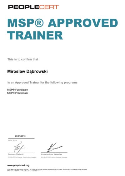 Managing Successful Programmes (MSP) Approved Trainer