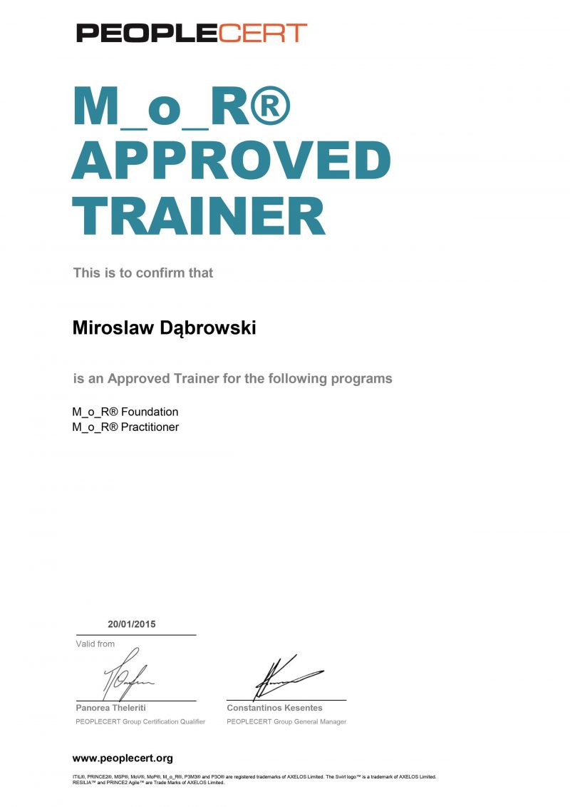Management of Risk (M_o_R) Approved Trainer