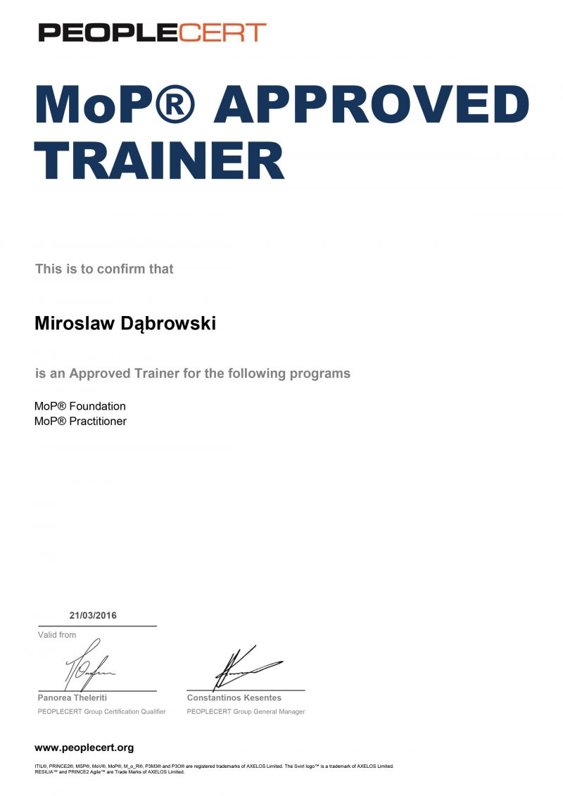 Management of Portfolios (MoP) Approved Trainer