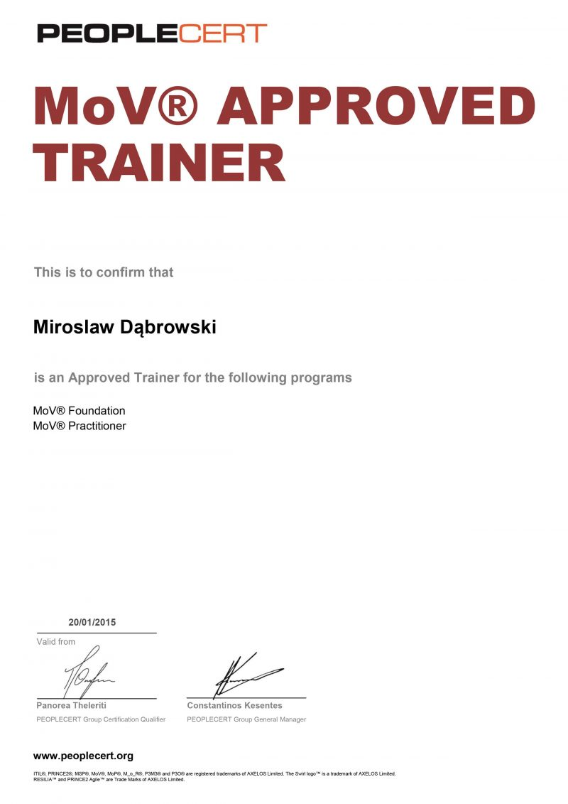 Management of Value (MoV) Approved Trainer