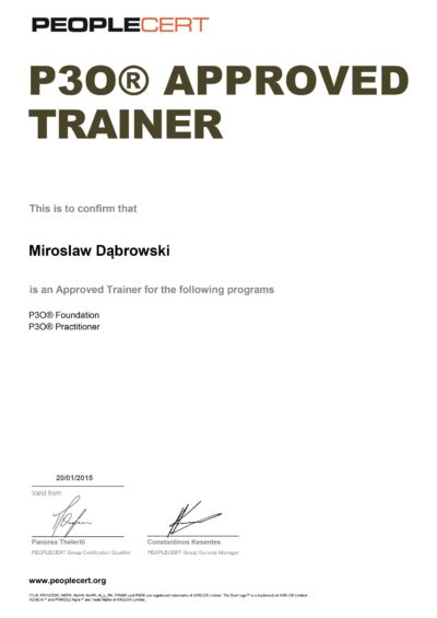 Portfolio, Programme and Project Offices (P3O) Approved Trainer