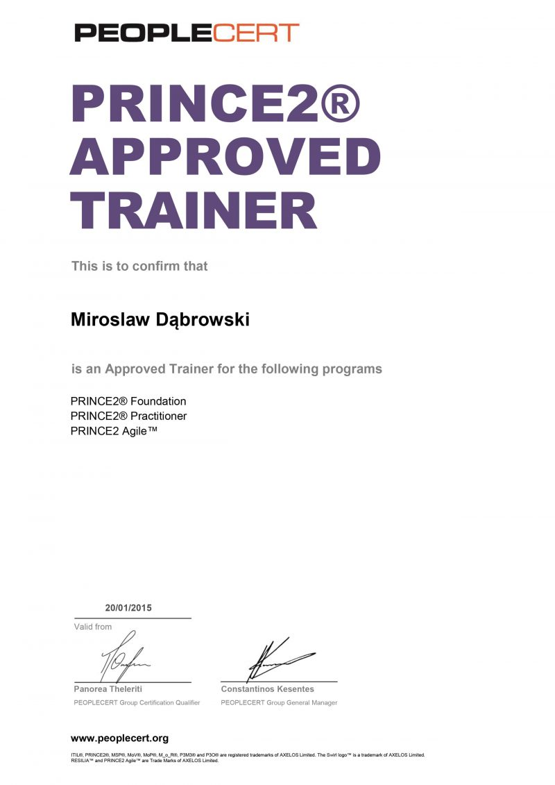 PRINCE2 Approved Trainer