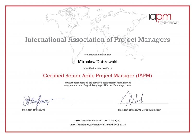 CSAPM - Certified Senior Agile Project Manager