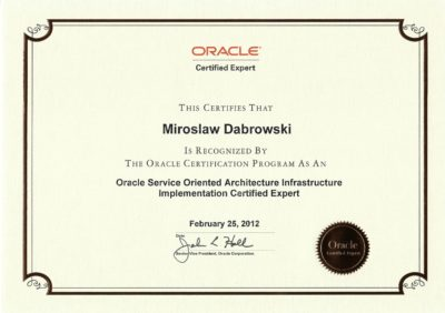 Oracle Certified Expert, Oracle Service Oriented Architecture Infrastructure Implementation Certified Expert
