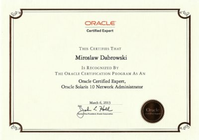 Oracle Certified Expert, Oracle Solaris 10 Network Administrator