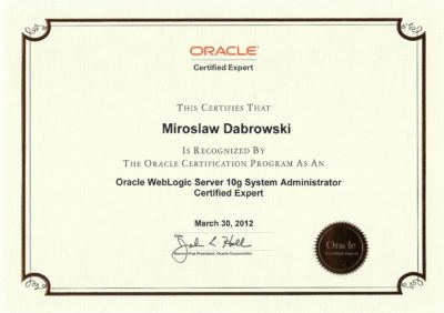 Oracle Certified Expert, Oracle Weblogic 10g System Administrator