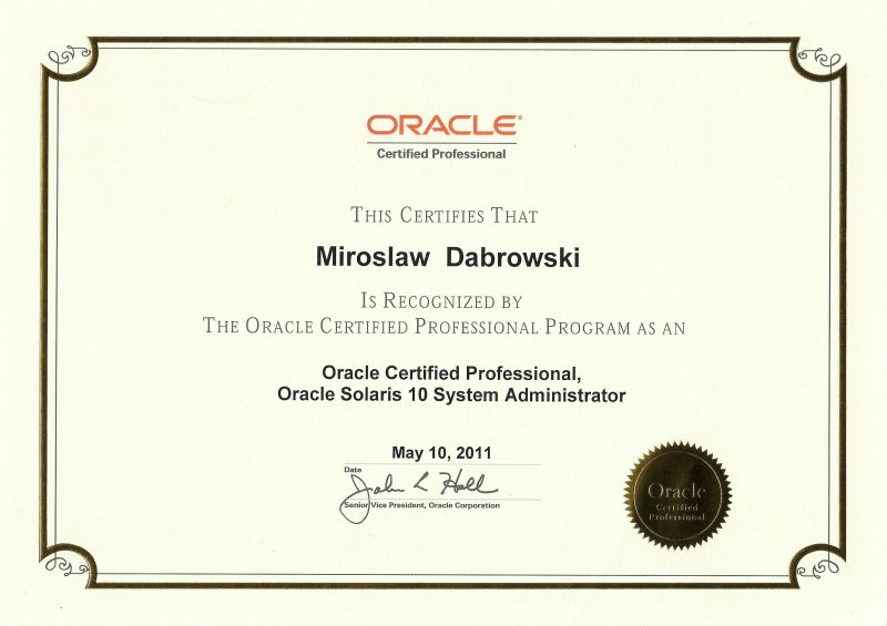 Oracle Certified Professional, Oracle Solaris 10 System Administrator