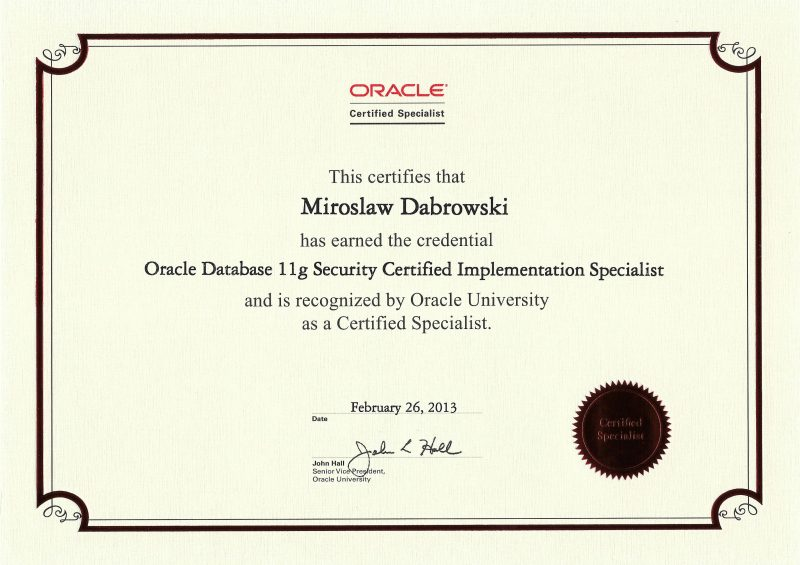 Oracle Certified Specialist, Oracle Database 11g Security Certified Implementation Specialist
