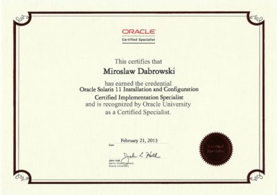 Oracle Certified Specialist, Oracle Solaris 11 Installation and Configuration Certified Implementation Specialist