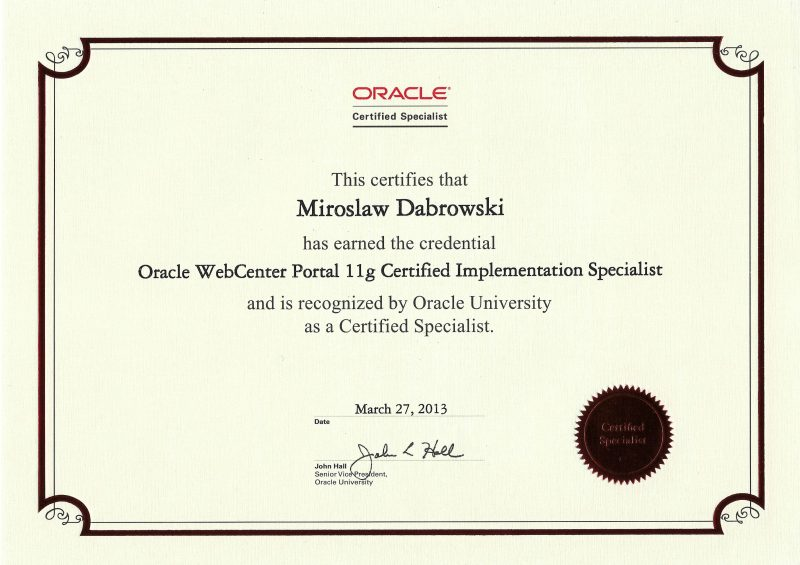 Oracle Certified Specialist, Oracle WebCenter Portal 11g Certified Implementation Specialist