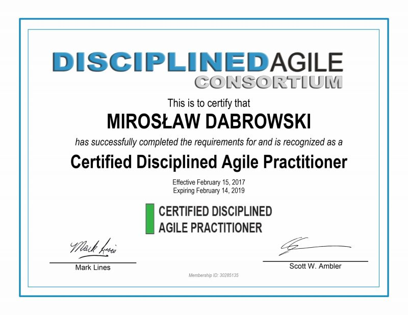CDAP - Certified Disciplined Agile Practitioner - Miroslaw Dabrowski