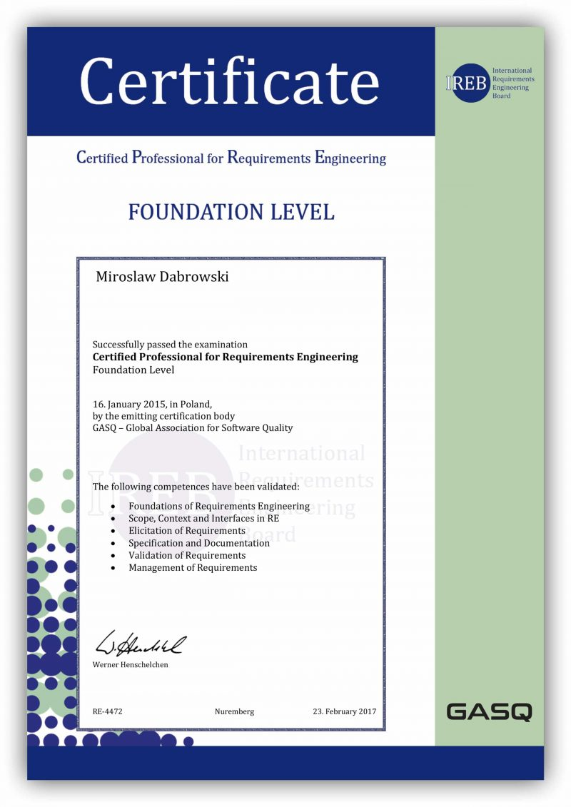 IREB Certified Professional for Requirements Engineering (CPRE) Foundation