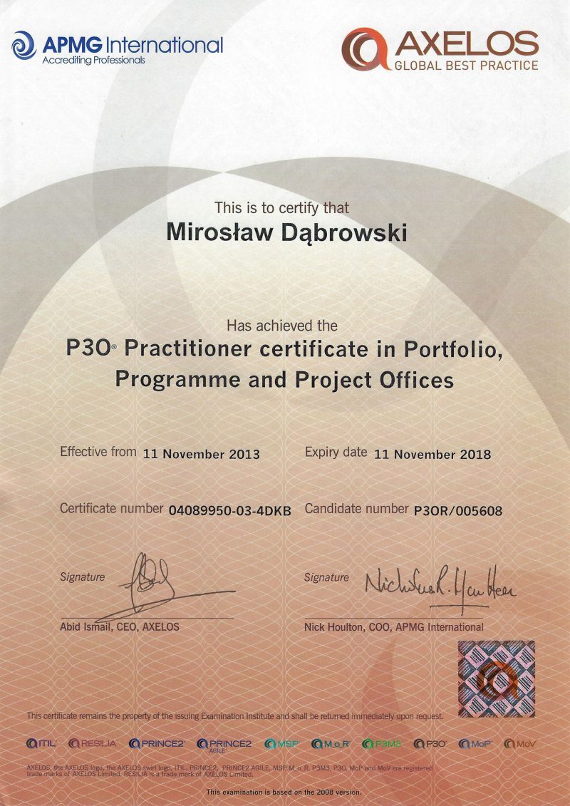 Portfolio, Programme and Project Offices (P3O) Practitioner