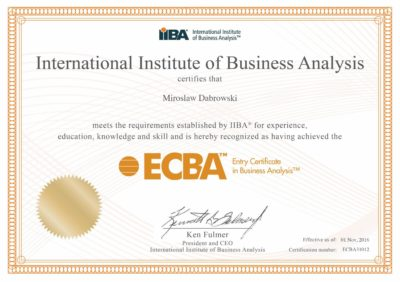 Entry Certificate in Business Analysis (ECBA)
