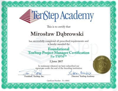 Foundational TenStep Project Manager Certification (Fn-TSPM)