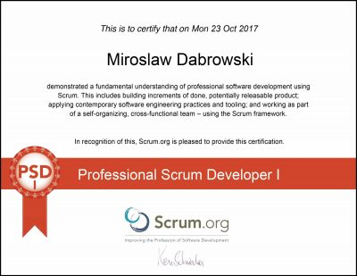 PSD I - Professional Scrum Developer I